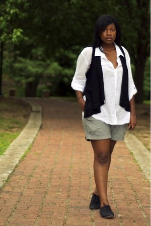 silver Urban Outfitters shorts - white H&M blouse - black Forever 21 vest - blac