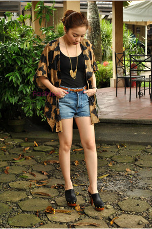 black random brand clogs - denim shorts Topshop shorts