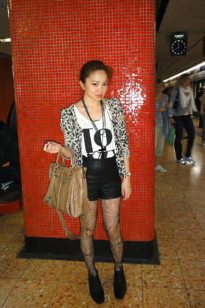 leather Forever21 shorts - Forever 21 shoes - balenciaga bag - Topshop stockings