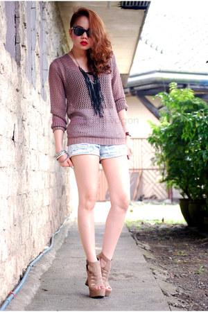 wedges - blazer - shorts