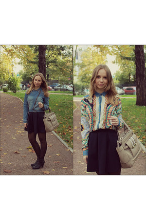 navy Zara blouse - teal Mango jacket - peach Guess bag - navy Topshop skirt