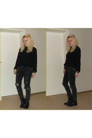 black Deichmann boots - black diy by me H&M jeans - black vintage sweater