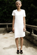 white Helmut Lang dress - silver Louis Vuitton accessories