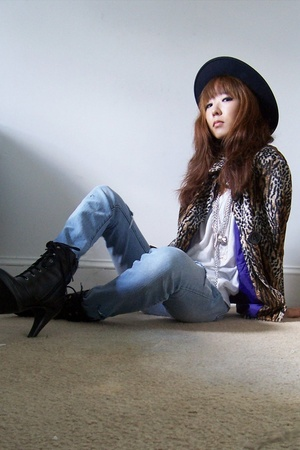 hat - vintage jacket - Urban Outfitters t-shirt - Delias jeans - payless