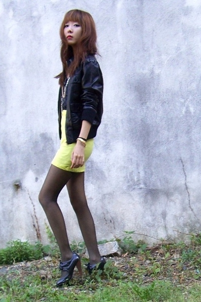 black leather Forever 21 - yellow neon diy - black CVS - black Primark