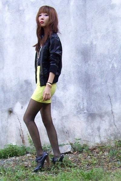 black leather Forever 21 - yellow neon diy - black CVS - black Primark