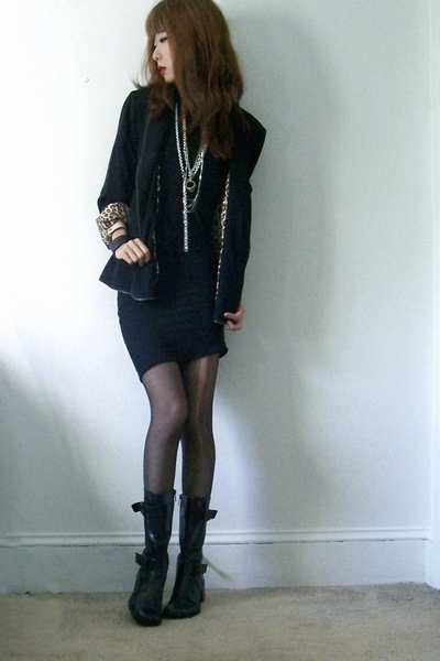 black blazer - black bailey 44 dress - black boots Kenneth Cole
