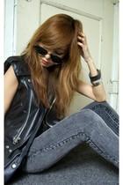 Ebay vest - by corpus top - forever 21 jeans - vintage sunglasses