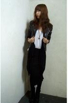 vintage jacket - American Apparel top - skirt - Guess