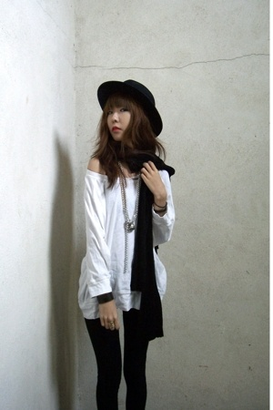 vintage hat - Gap top - scarf - American Apparel