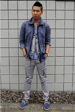 blue Marc by Marc Jacobs jacket - gray H&M pants - blue Tommy Hilfiger shoes - g