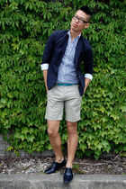 blue Diesel blazer - beige H&M shorts - white H&M shirt - blue Zara shoes - blue
