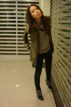 green Zara shirt - brown vest - black Zara boots - black jeans