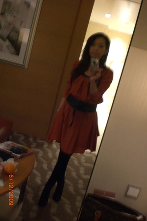 orange dress - black boots