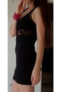 Black-heels-black-lace-vest-skirt-pink-beaded-bracelet