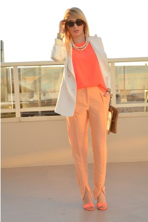 peach zip front H&amp;M Trend pants - white wide lapel Zara blazer