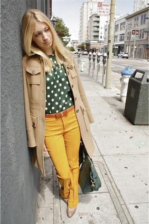 mustard Zara pants - camel military banana republic coat