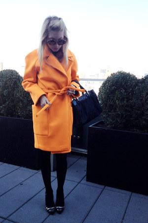 carrot orange neoprene joefresh jacket - black H&M tights - gold Zara heels