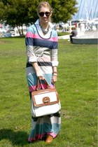 pink Splended dress - white Gap shirt - ivory banana republic bag