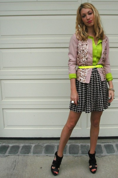 light pink sequin Gap jacket - chartreuse Gap sweater - black heart-print Zara s