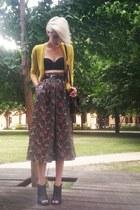 teal floral vintage skirt - black bustier Topshop bra - yellow Jcrew cardigan