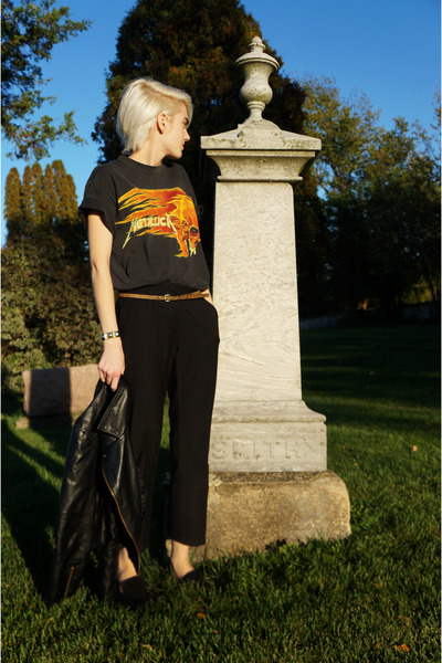 metallica thrifted t-shirt - faux leather Sheinside jacket