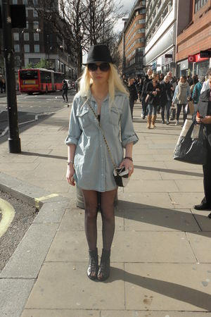 black H&M shoes - blue Primark shirt - black Primark hat