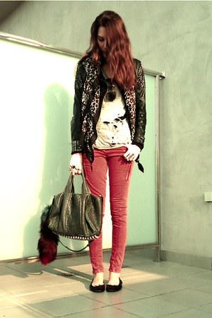red Topshop jeans - Alexander Wang bag - DIY t-shirt - Primark flats