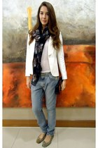 Zara jacket - acne jeans - Primark scarf - Louis Vuitton purse - Primark flats
