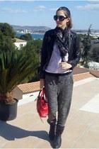 Topshop pants - Chanel boots - Bershka jacket - Primark scarf - balenciaga bag