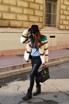 Multicolor fur and studded boots