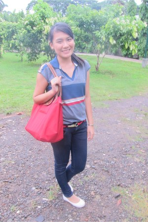 navy blue Zara jeans - red longchamp bag - Regatta top - red Regatta belt