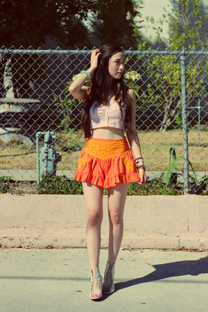 light orange free people top - carrot orange free people shorts