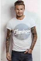 white printed tee flamingo apparel t-shirt