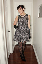 black lace H&M dress - black lace bow Forever 21 tights