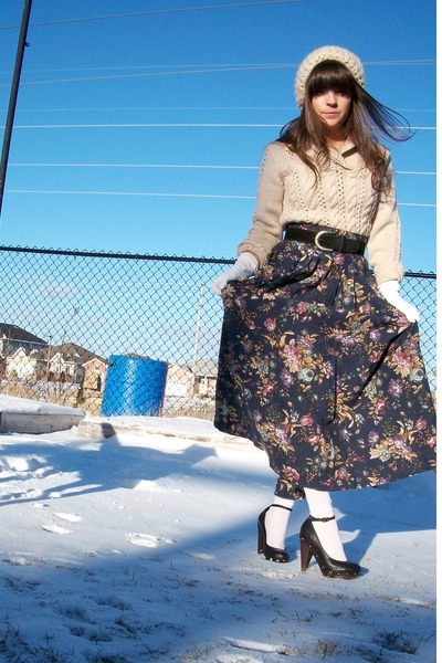 thrifted hat - thrifted sweater - thrifted skirt - Aldo shoes - thrifted belt -