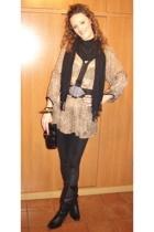 Zara blouse - Zara belt - leggings