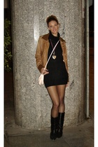 Black knit dress + leather vintage jacket