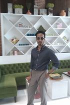 brown Mosco glasses - blue H&M shirt - Zara pants - beige  shoes - gold Pulsar a