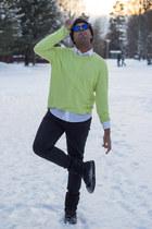 black Zara jeans - yellow weekday jumper