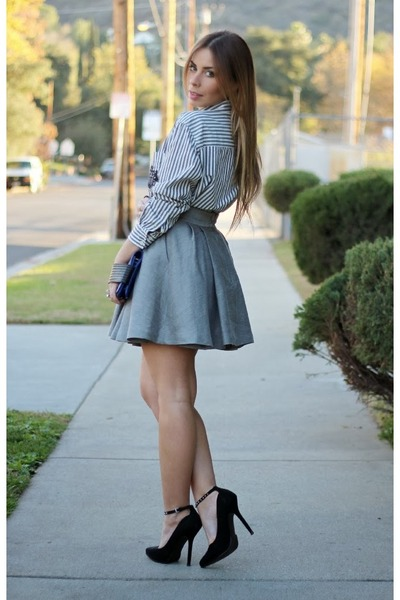 gray h m skirts white forever 21 shirts blue