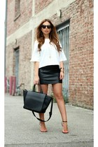 black Zara bag - white textured crop Paper Dolls top