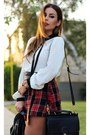 Black-coach-bag-ruby-red-neon-rose-skirt-white-jeunesse-top
