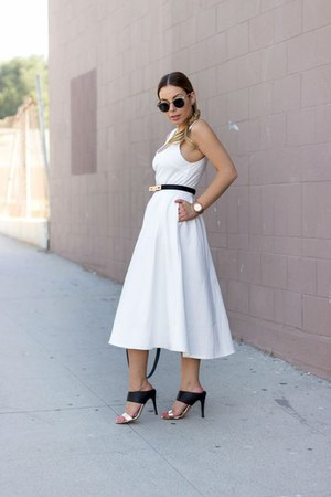 white daily look dress - black shoemint sandals - black ted baker belt