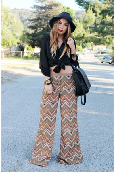 black straw black hat Nasty Gal hat - black Zara bag