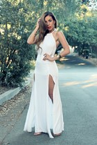 white Tobi dress - nude Luna B heels