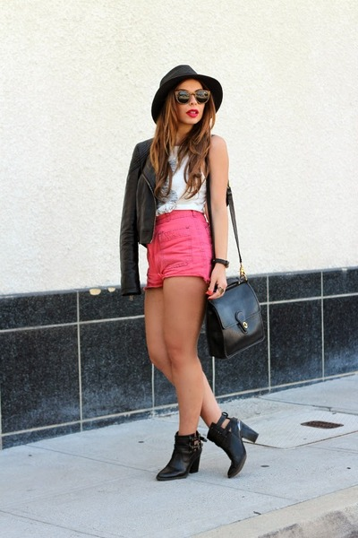 black Shoedazzle boots - black Nasty Gal hat - red Urban Outfitters shorts