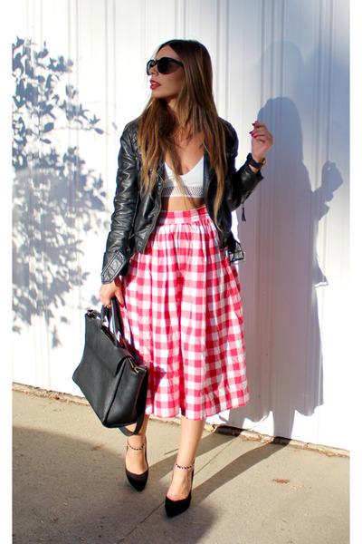 red vintage skirt - white Rehab top - black Zara heels