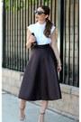 White-bow-button-up-asos-shirt-black-forever-21-bag