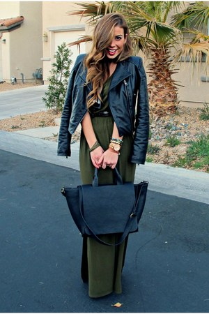 black leather moto Motel Rocks jacket - maxi jersey Forever 21 dress
